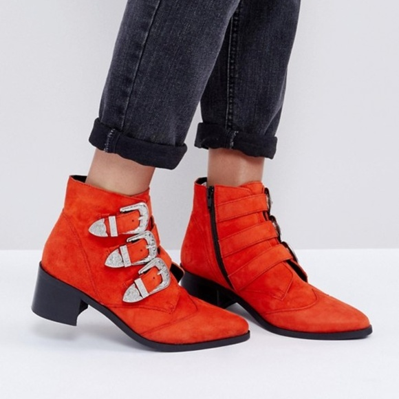 Asos Relieve Suede Buckle Ankle Booties